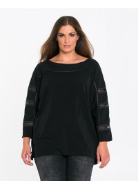 MAT Sort Bluse med mesh
