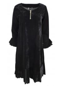 Boheme velour kjole med lynlås